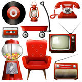 Icons of retro products in red color Stock Images