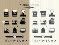 Icons retro set. Vintage objects and icons. Two types Stock Image