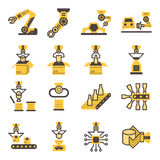 Icons. Robot and conveyor belt icons sets stock illustration