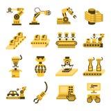 Icons. Robot and conveyor belt icons sets on white background stock illustration