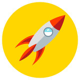 Icons rocket of toys in the flat style. Vector image on a round colored background. Element of design, interface. Icons rocket of toys in the flat style. Vector Stock Image