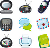 Icons_round(0). A set of icons for the home and office with rounded edges on a white background vector illustration