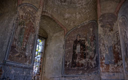 Icons in ruined church Royalty Free Stock Photography