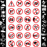 Icons safety. Range of prohibition signs. Labeling Royalty Free Stock Images