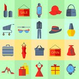 Icons sale items men, womens clothing Royalty Free Stock Images