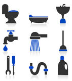Icons sanitary technicians Stock Image