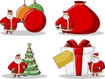 Icons of Santa-Claus on Christmas time. Tree, bag, presents Stock Photography
