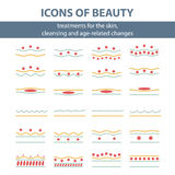 Icons with scheme of cleansing the skin Stock Images