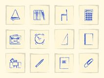 Icons for school supplies Stock Images