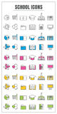 Icons school thin line color black blue pink Yellow green vector Royalty Free Stock Image