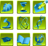 Icons science. Icons for science, medicine and studies Stock Photo
