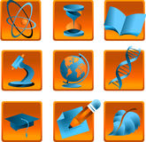 Icons science. Icons of science, medicine and studies Stock Images