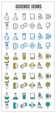Icons science vector color black blue Yellow green on white back Stock Photos
