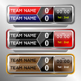 Icons scoreboard template. For football and soccer, vector illustration Stock Photography