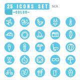 Icons sea color thin white in the circle blue on white backgroun Stock Photography