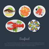 Icons of seafood on a plate in flat style. Top view. Restaurant delicious dish. Vector illustration Royalty Free Stock Photography