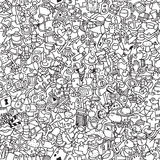 Icons seamless pattern in black and white Royalty Free Stock Photos