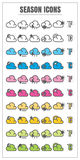 Icons season color blck blue pink Yellow green vector on white b Stock Photography
