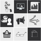 Icons for seo, social media online shopping Royalty Free Stock Images