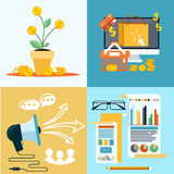 Icons for seo, social media online shopping Stock Image