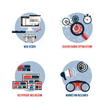 Icons for seo, web design, responsive web design and marketing r Stock Photo