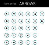 Icons series; arrows signs isolated Royalty Free Stock Image