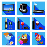 Icons for service cafe and restaurant wine cocktail,dessert, TV, Wi Fi Royalty Free Stock Image