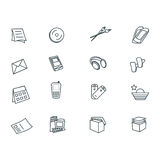 Icons set. Black outlined icons Stock Photo