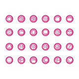 Icons set. Pink (magenta) icons set (Everything depicted within this illustration is designed by me - Bsilvia royalty free illustration