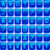 Icons set. Blue icons set symbols illustration Stock Photography