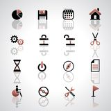 Icons set. Vector icons set on gray background Stock Photo