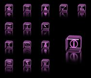 Icons set. Pink icons set on black background Royalty Free Stock Photography