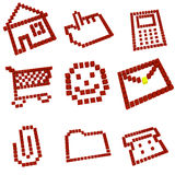 Icons set. Of home, hand, calculator, cart, smile, letter, clip, folder, phone made of cubes Royalty Free Illustration