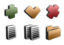 Icons set. Set of six managing icons in 3d - add, confirm/check, delete/remove, edit, copy and open Royalty Free Stock Photography