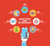 Icons set analytic and investments Stock Photos