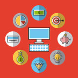 Icons set analytic and investments Royalty Free Stock Photography