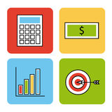 Icons set analytic and investments Stock Image