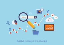 Icons set of analytics search information Royalty Free Stock Photos