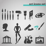 Icons set of art supplies for painting. Vector illustration icons set of art supplies and instruments for painting, drawing, sketching isolated on grey Royalty Free Stock Image