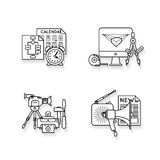Icons set with the attributes of different marketing and advertising stages. Royalty Free Stock Image