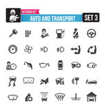 30 icons set auto and transport isolated on the white background Stock Photos