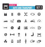 30 icons set auto and transport isolated on the white background Stock Images
