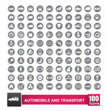 100 icons set of auto transport and logistic isolated on white b. Ackground illustration eps 10 stock illustration
