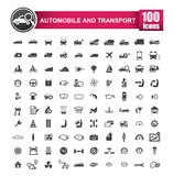 100 icons set of auto transport and logistic isolated on white b. Ackground vector illustration eps 10 stock illustration