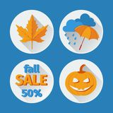 Icons set autumn flat design. Stock Photography