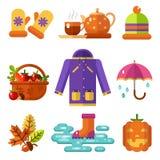 Icons set of Autumn symbols Stock Image