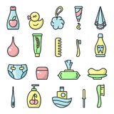 Icons set of baby hygiene accessories. Cartoon style vector illustration stock illustration