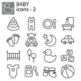 Icons set - Baby toys, feeding and care. Web icons set - Baby toys, feeding and care Stock Photo