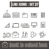 Icons set back to school line black Modern Style design elements Stock Photo