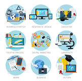 Icons set banners for business Royalty Free Stock Photo